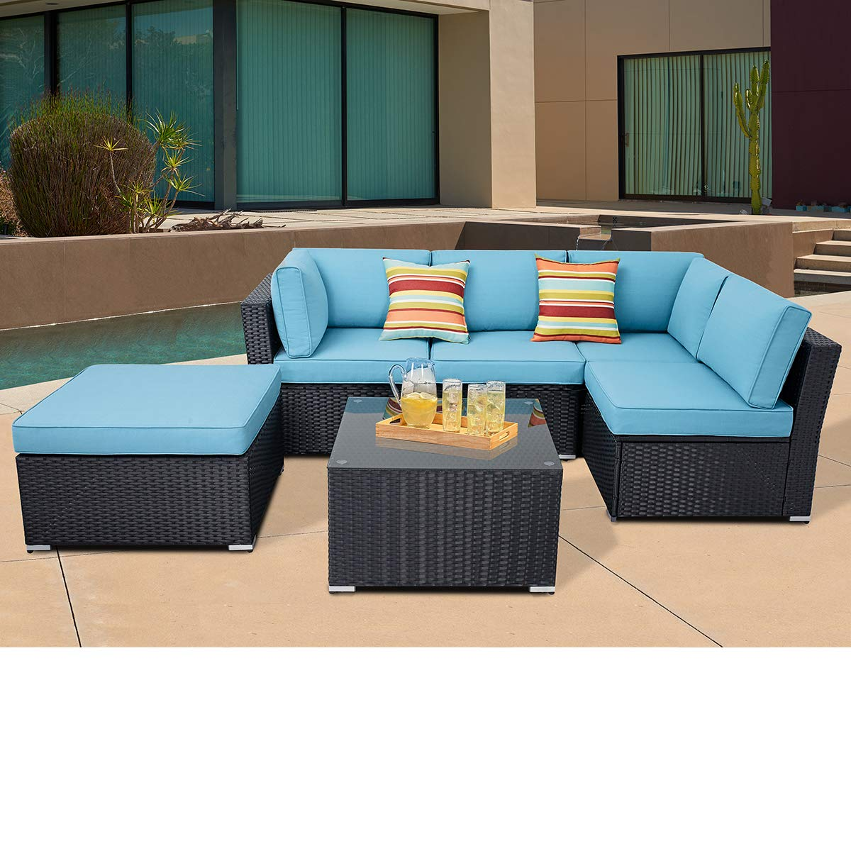 suncrown patio furniture sofa set 4 piece outdoor sectional sofa of 5 seats with ottoman and black wincker tempered glass top table sky blue