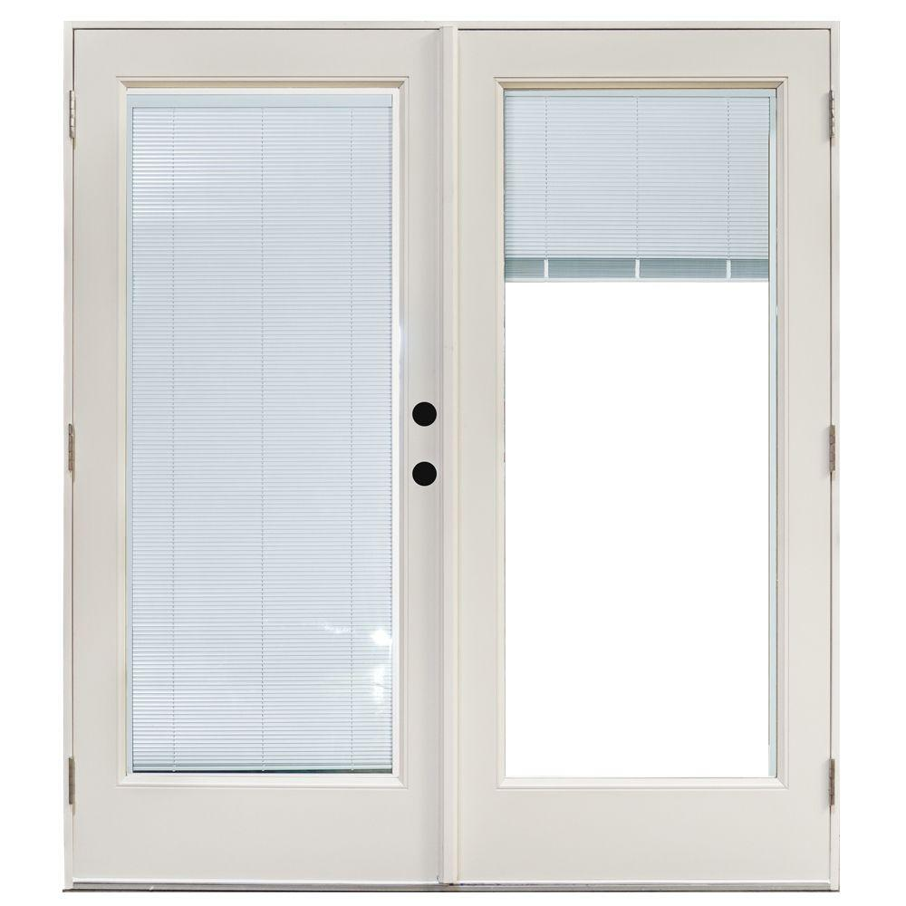 60 in x 80 in fiberglass smooth white left hand outswing hinged patio door with built in blinds