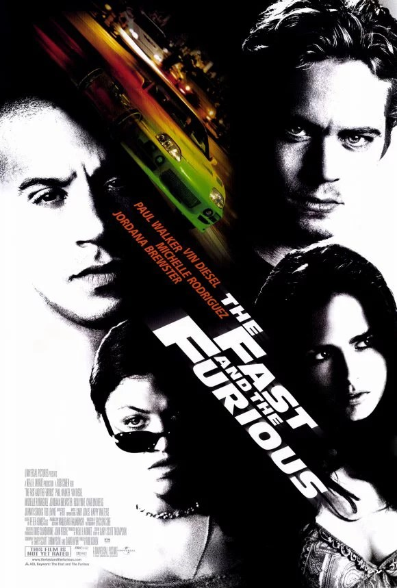 the fast and the furious 2001 27x40 movie poster