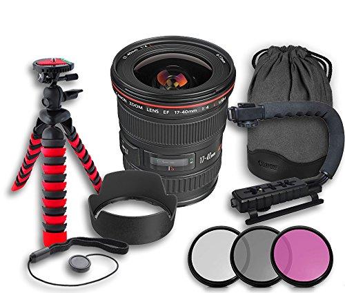 Canon EF 17-40mm f/4L USM Lens + Original Canon Lens Hood EW-83E + Original Canon Lens Bag + 3 PC Filter Kit + Tripod + Scorpion Grip + Cap Keeper