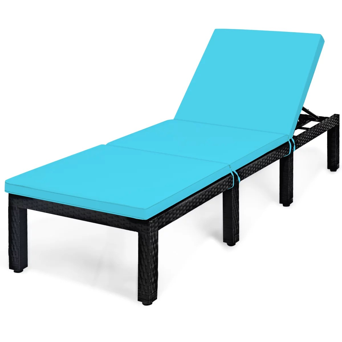 topbuy adjustable outdoor patio rattan lounge chair chaise couch with cushions