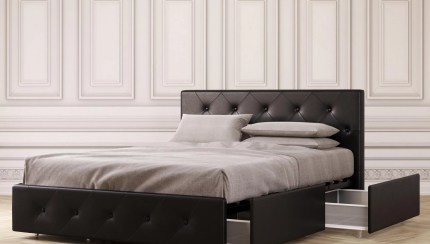 Dhp Dean Upholstered Bed With Storage Black Faux Leather Full Walmart Com Walmart Com