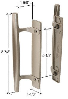 stone 8 7 8 sliding glass door handle set 1 5 8 projection for andersen doors fits andersen gliding patio doors has a handle projection of by