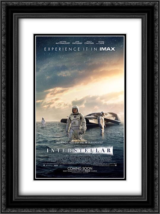 interstellar 18x24 double matted black ornate framed movie poster art print