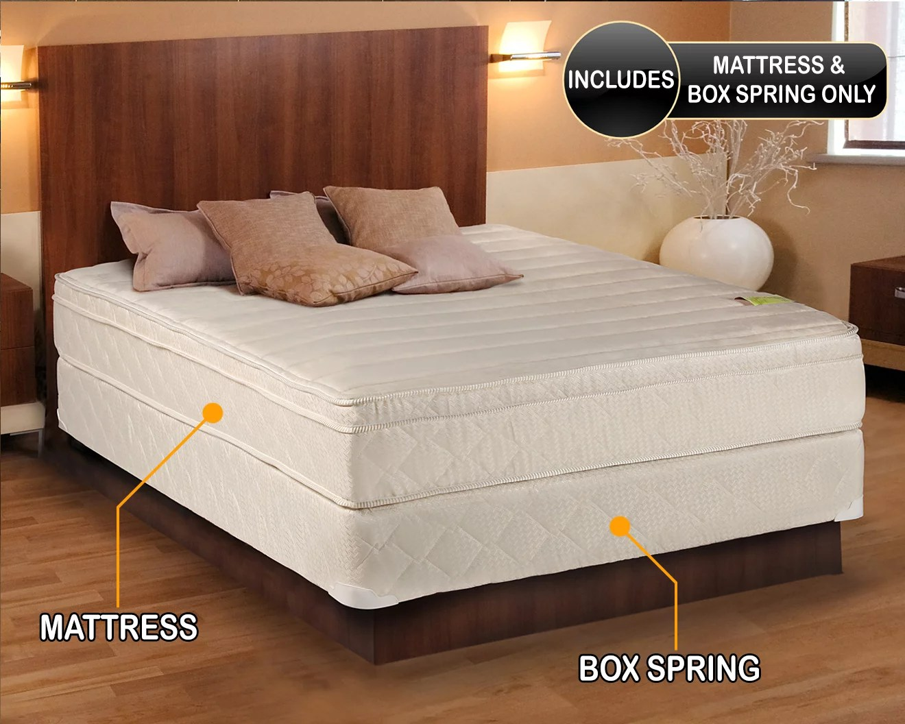 comfort pedic firm pillow top eurotop mattress box spring king 76 x80 x11 sleep system with enhance support fully assembled plush knit