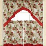 Elegance Linen Embroidered 3 Piece Kitchen Curtain Window Treatment Set 2 Tiers 30 X 36 And 1 Swag 60 X 36 Apple Vine Design Walmart Com Walmart Com