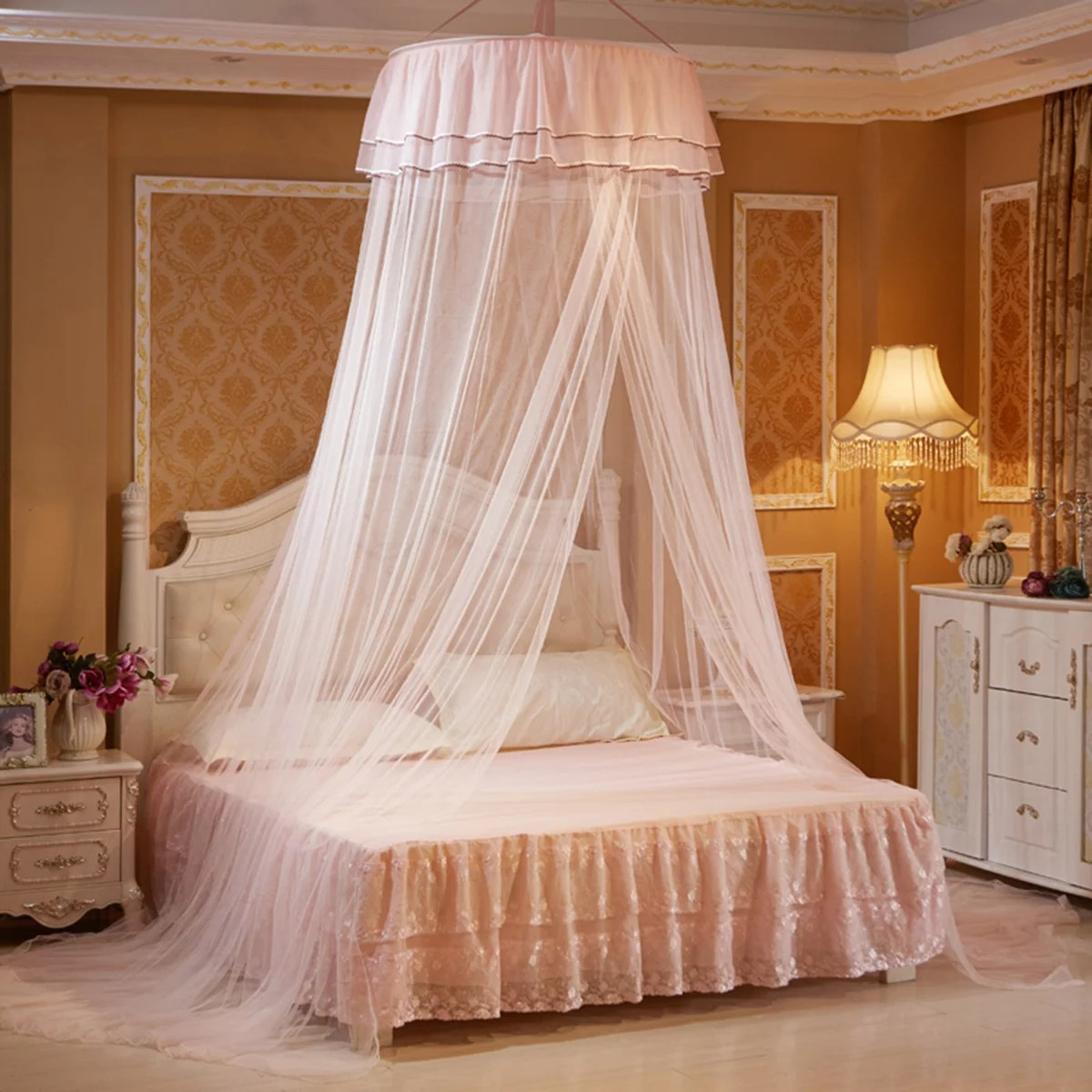 dome mosquito net princess bed curtain bed canopies round double lace curtain with 2 butterflies for decor anti fly insect for twin full queen