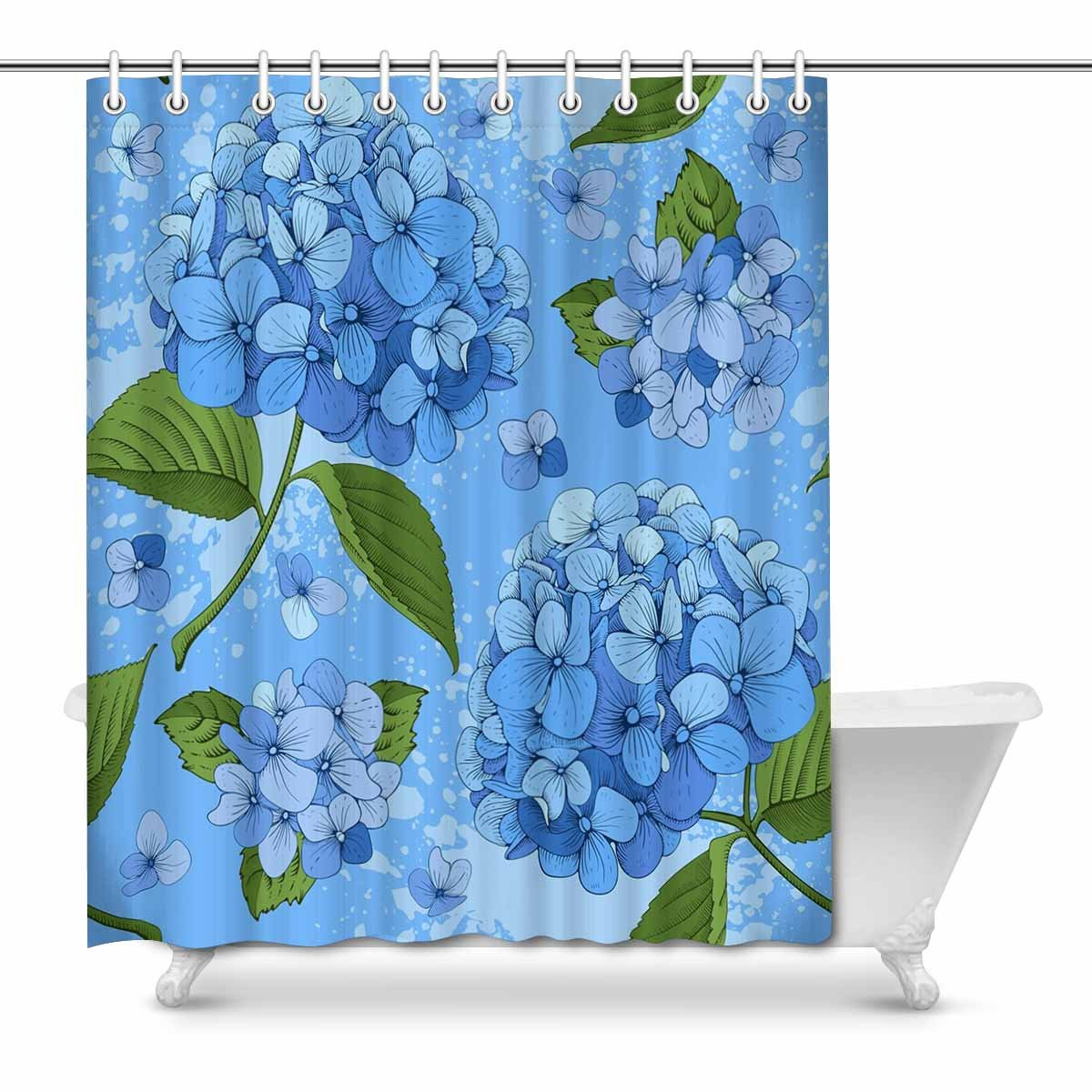 Pop Luxury Blooming Hydrangea Bathroom Shower Curtain 66x72