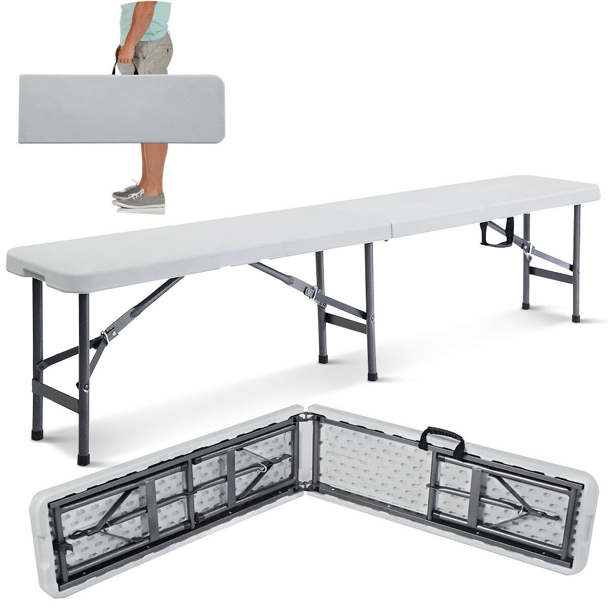costway 6 portable plastic in outdoor picnic party camping dining folding bench walmart com