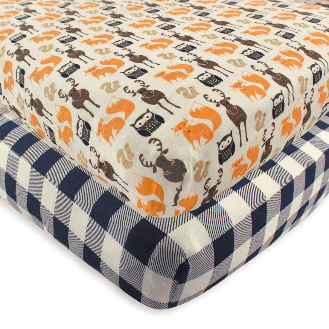 Hudson Baby Boy and Girl Fitted Crib Sheet, 2-Pack - Forest