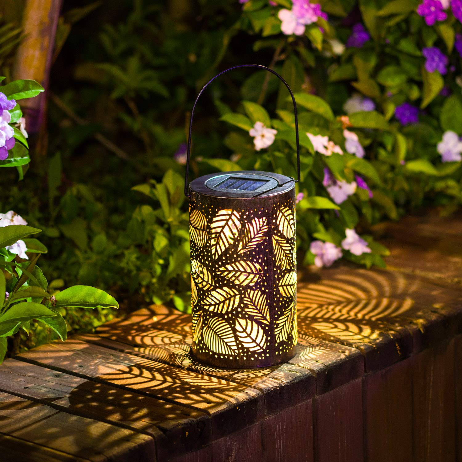 solar lantern lights upgrade outdoor garden lawn hanging lights metal bronze leaf pattern lights lamp for patio outside table light auto on off