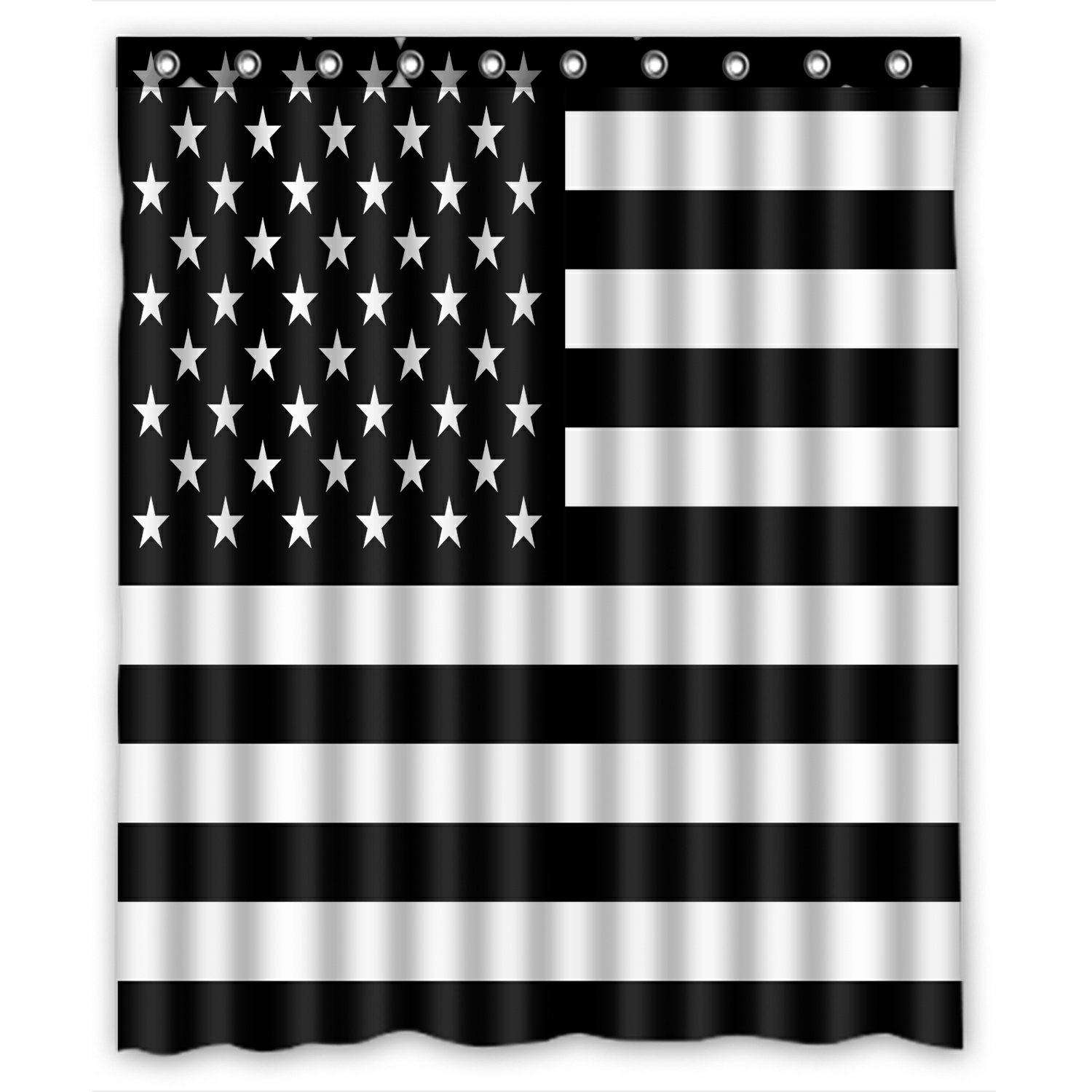 phfzk flag shower curtain american flag black and white polyester fabric bathroom shower curtain 60x72 inches
