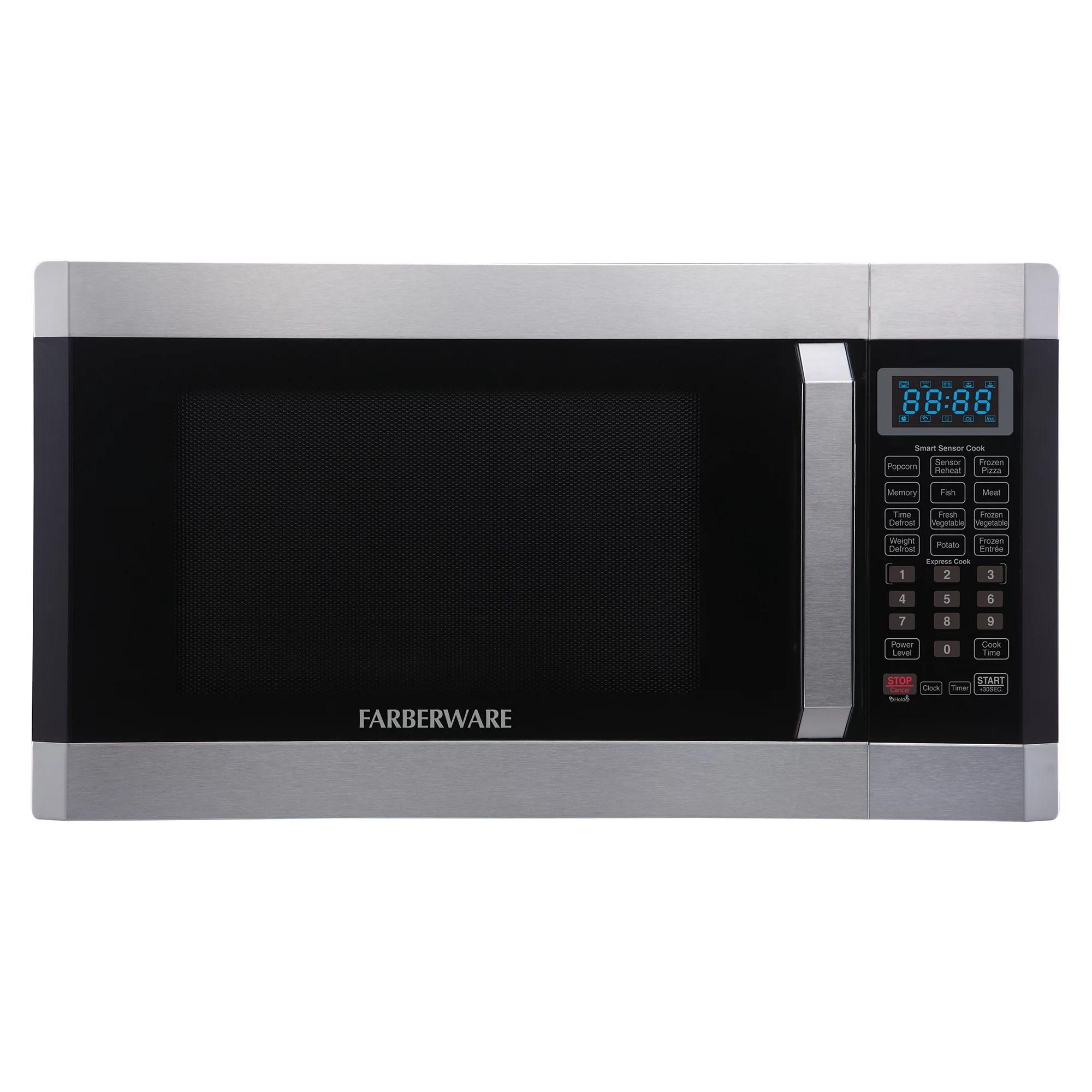 farberware 1 6 cu ft 1100 watt microwave oven with smart sensor stainless steel platinum