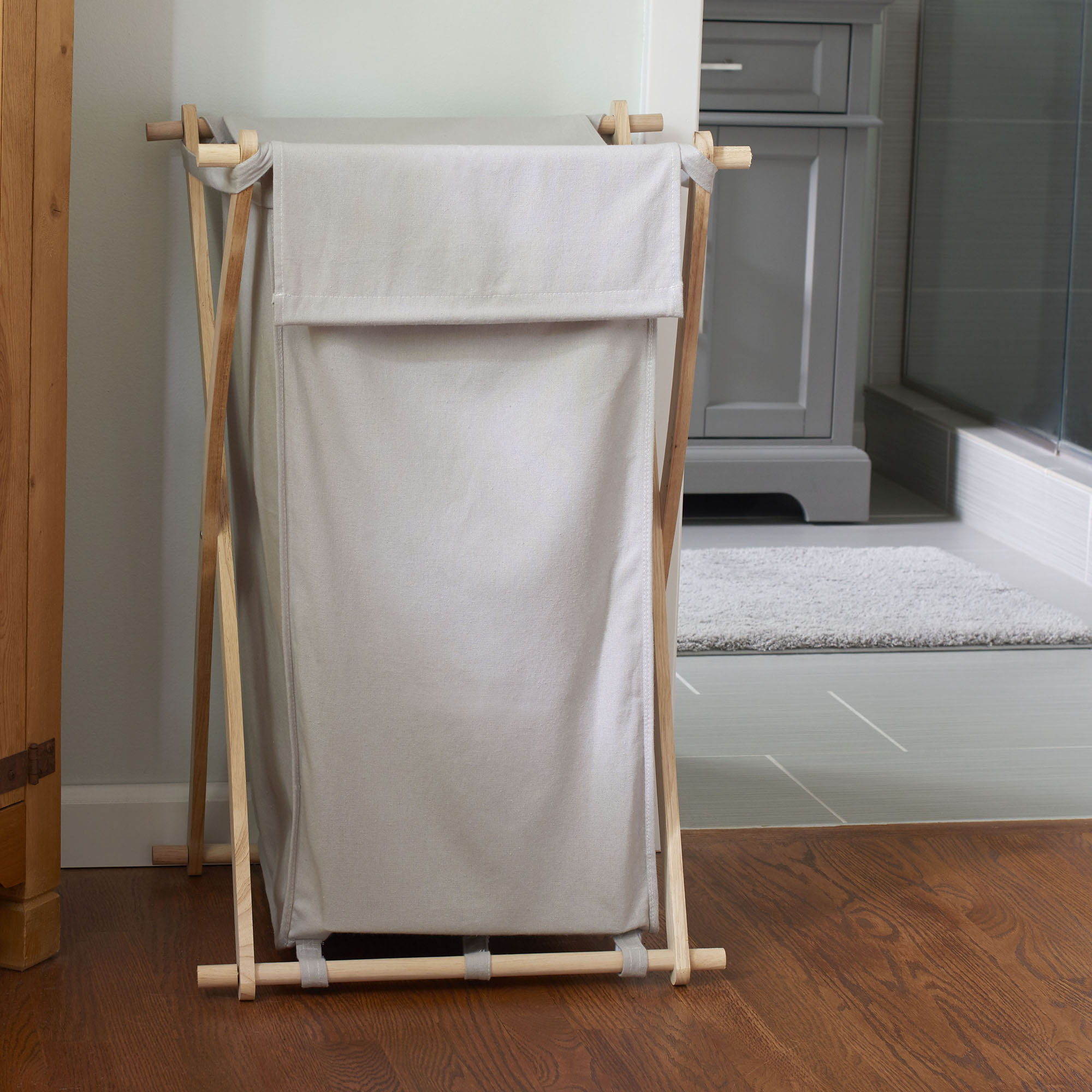 household essentials wood x frame clothes hamper with washable gray laundry bag walmart com
