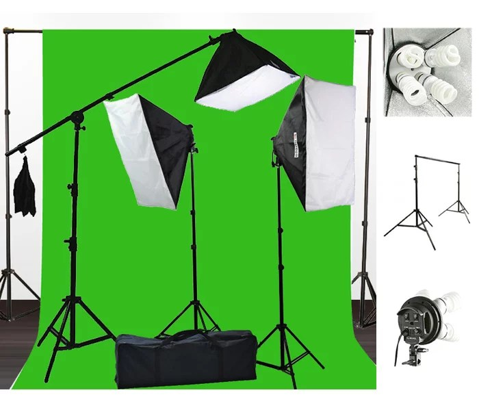 2400 watt photography studio video light lighting 10x20 green screen background