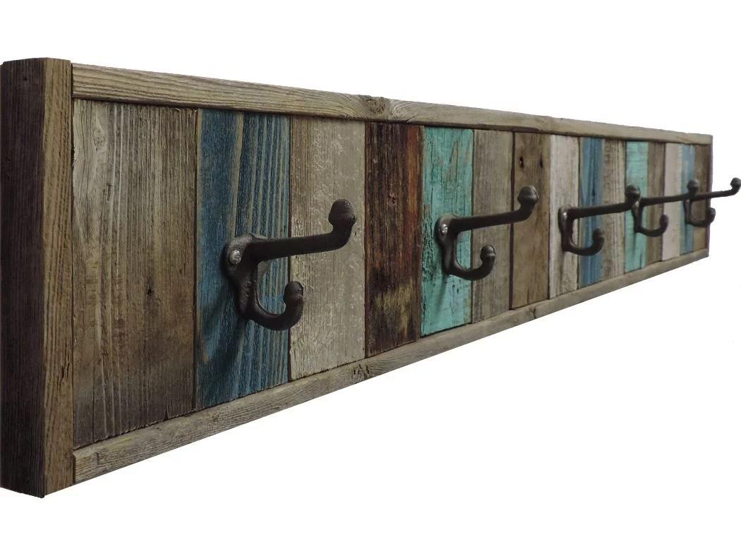 reclaimed barn wood towel rack 5 hook wall mounted 47 inches multi bath towel hanger decorative wooden farmhouse bathroom accessory