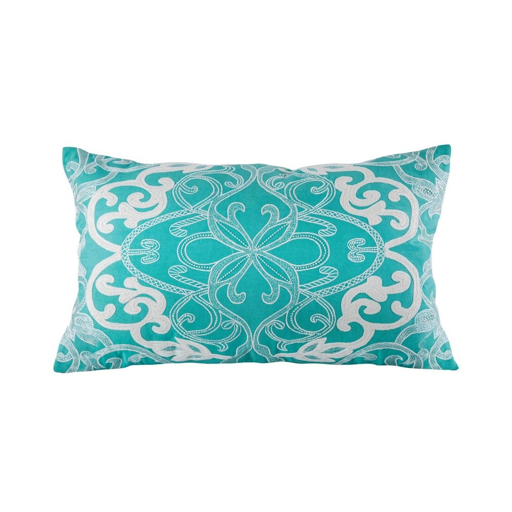 teal and cream colored lumbar pillow cover 16x26 inch lumbar pillow cover only