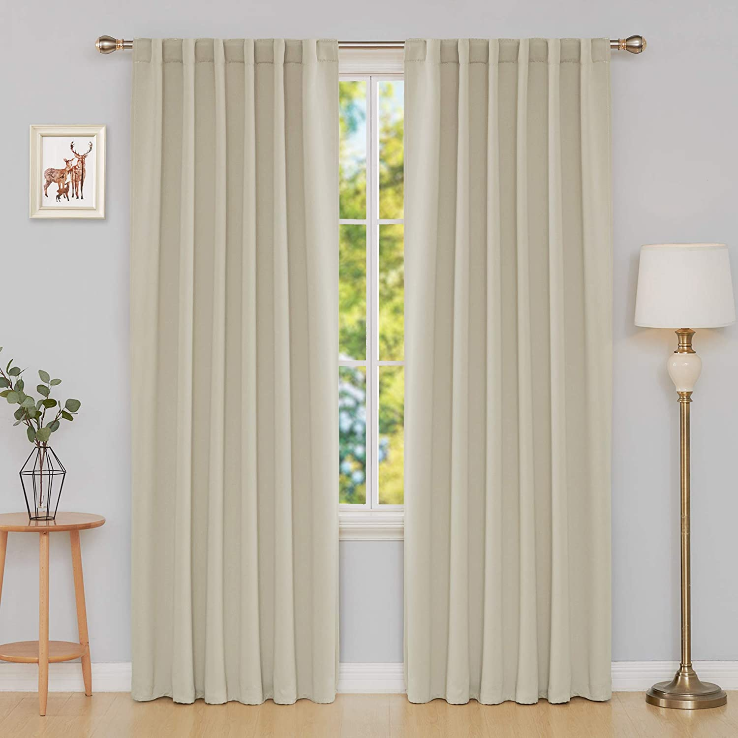 deconovo blackout curtains back tab and rod pocket thermal insulated curtain penels for sliding door 52x108 inch greyish white 2 panels