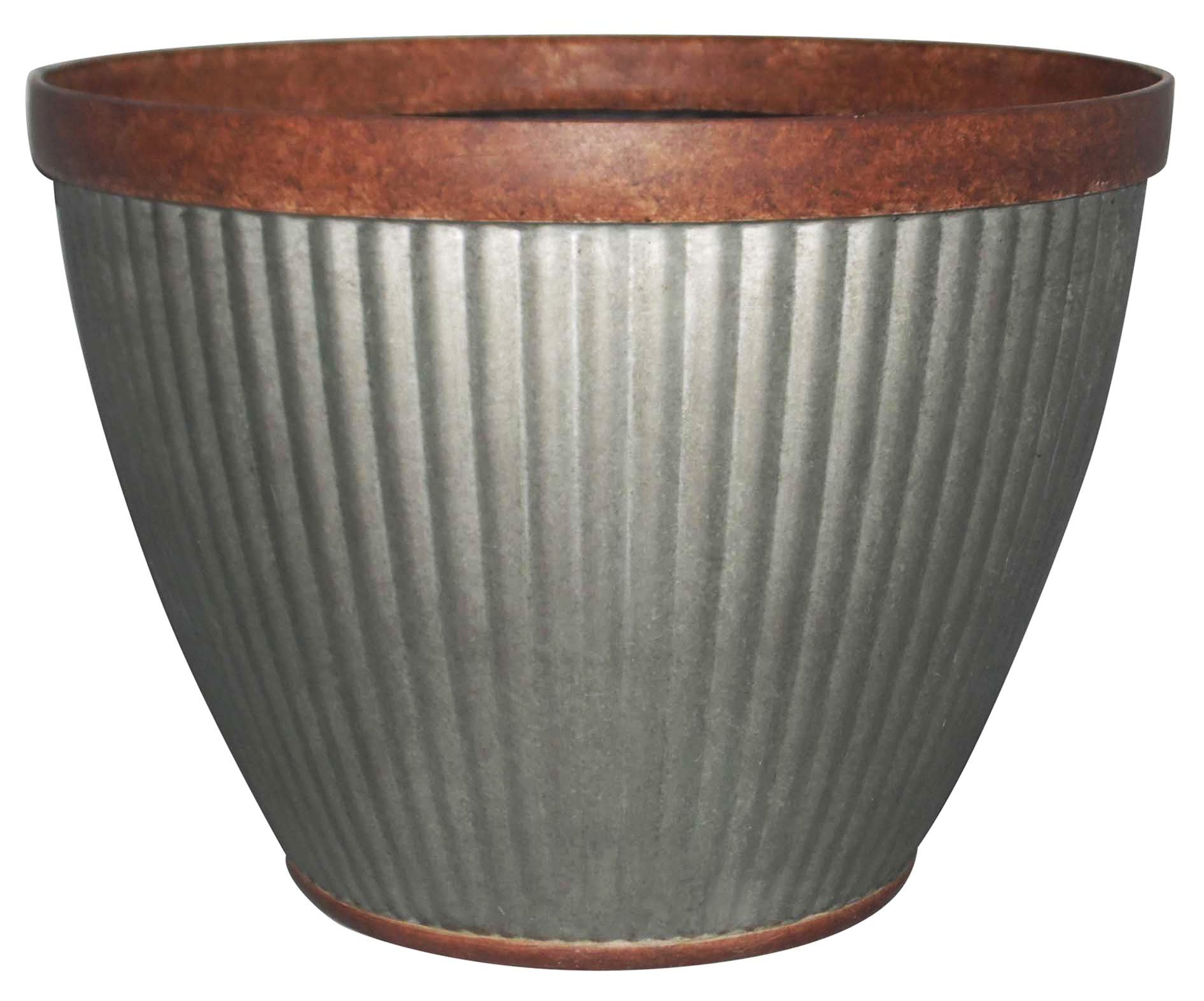 southern patio hdr 054795 15 x 11 rustic galvanized westlake round planter