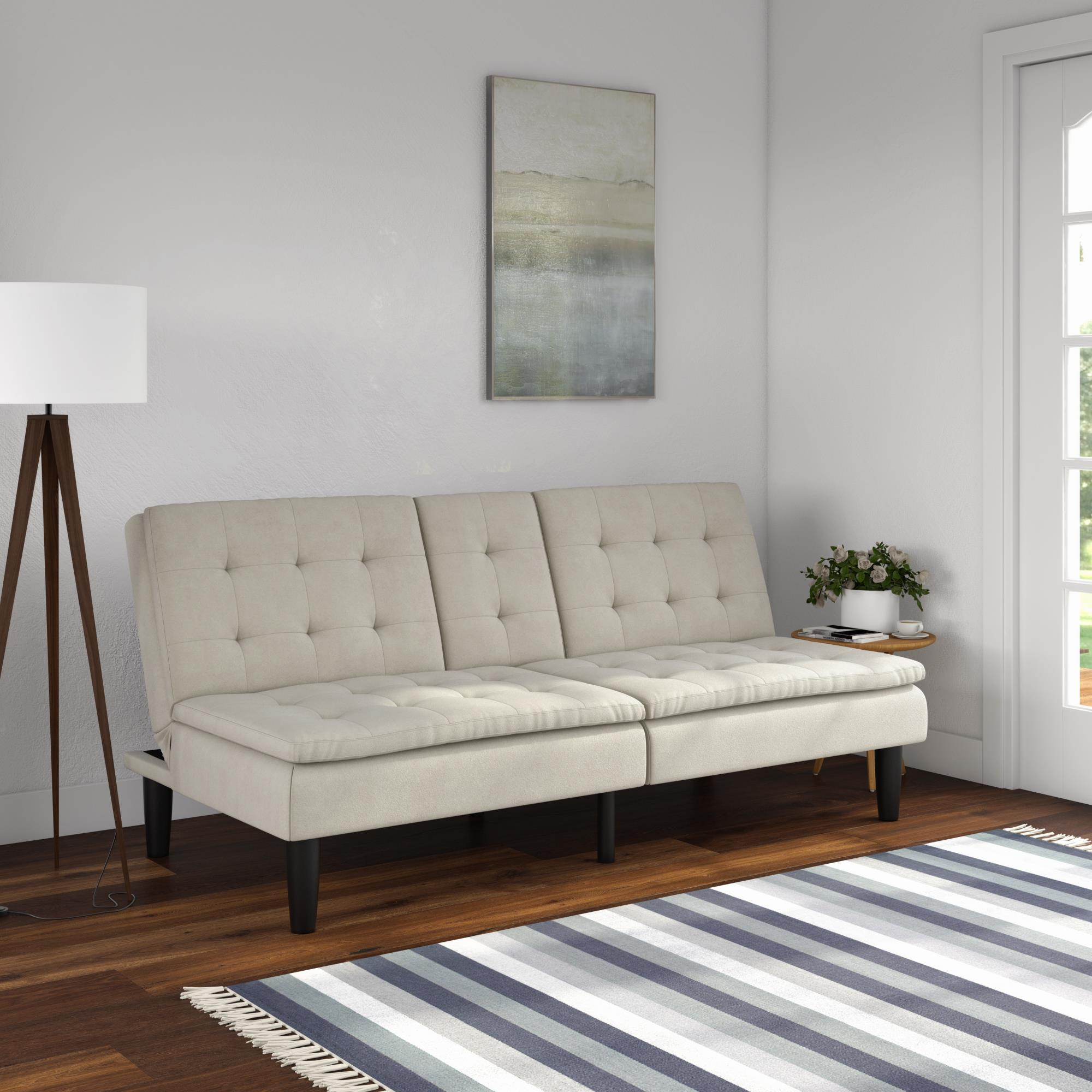 mainstays memory foam pillowtop futon with cupholder gray microfiber