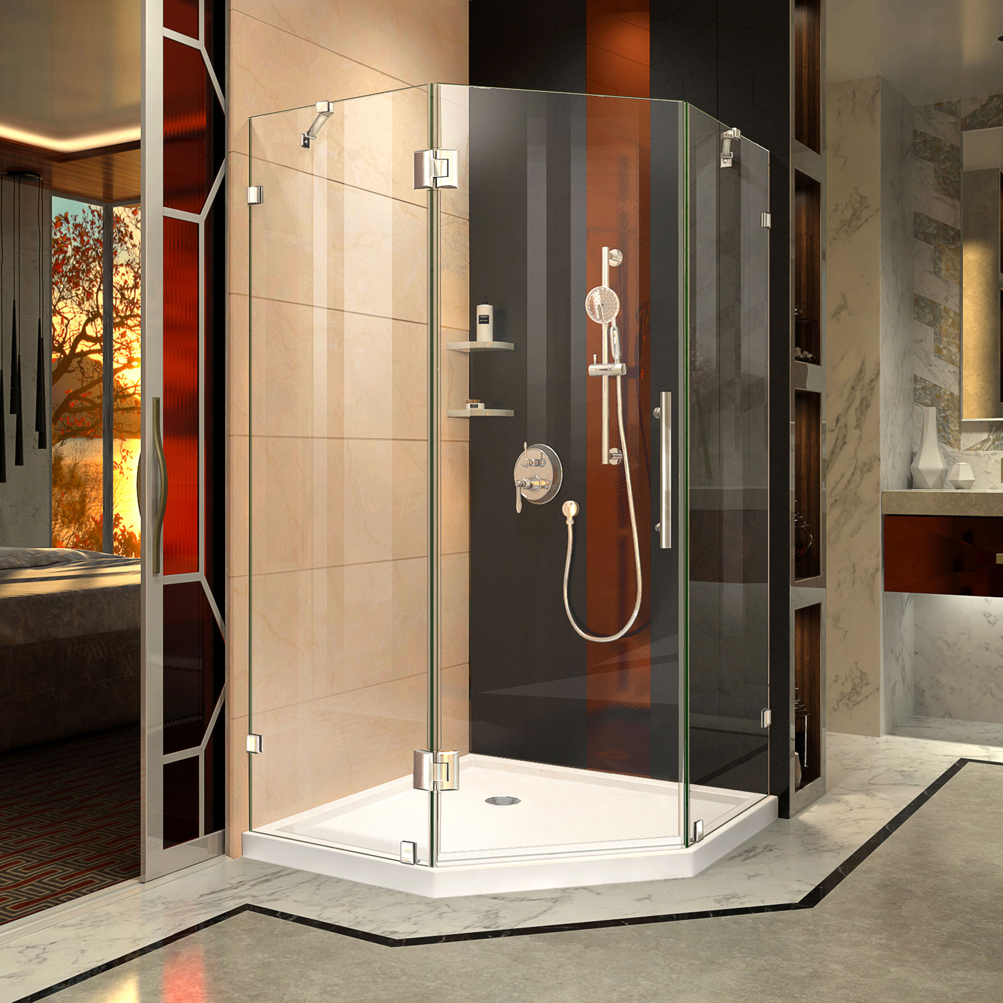 Dreamline Prism Lux 34 5 16 In X 72 In Fully Frameless Neo Angle Hinged Shower Enclosure In Chrome