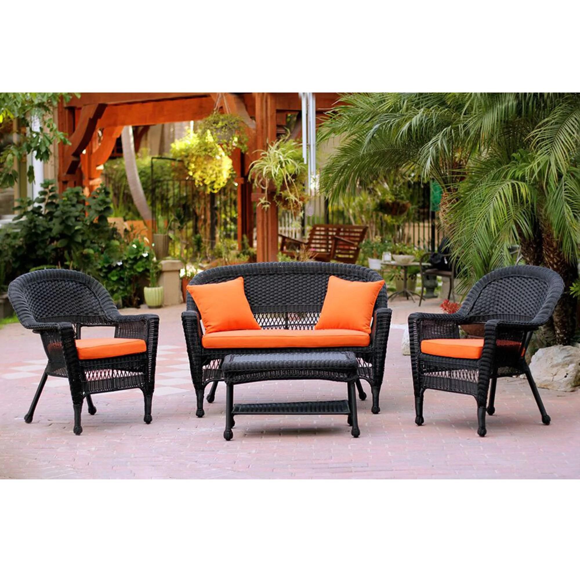 4 piece black wicker patio chair loveseat table furniture set orange cushions 51 walmart com