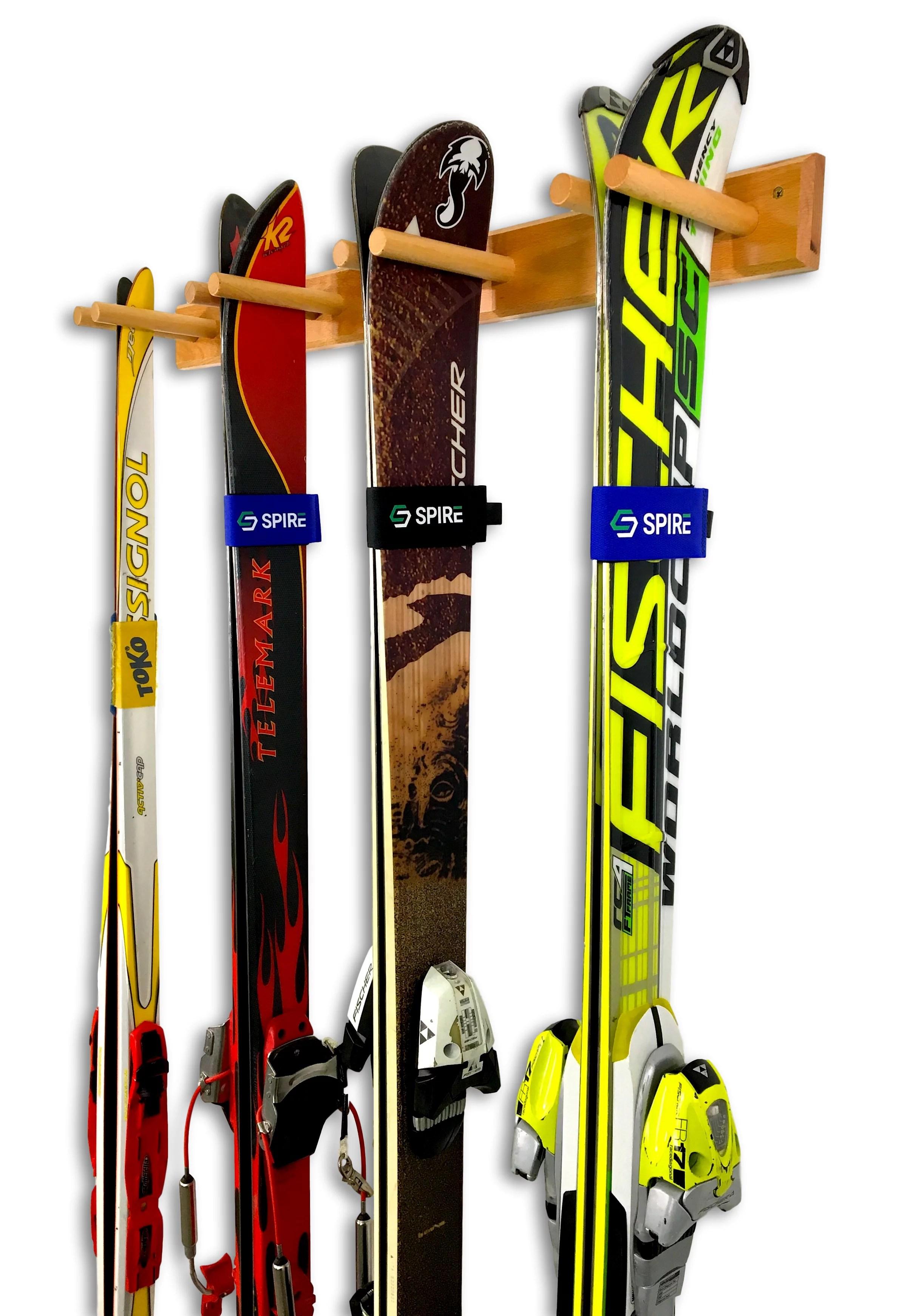 timber ski wall rack wood home garage mount system natural