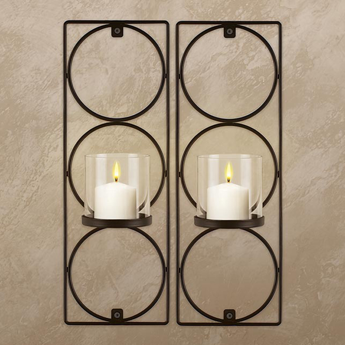 Set Of 2 Metal Wall Sconces Sarah Peyton Hanging Candle ... on Decorative Wall Sconces Candle Holders Centerpieces Ebay id=33945