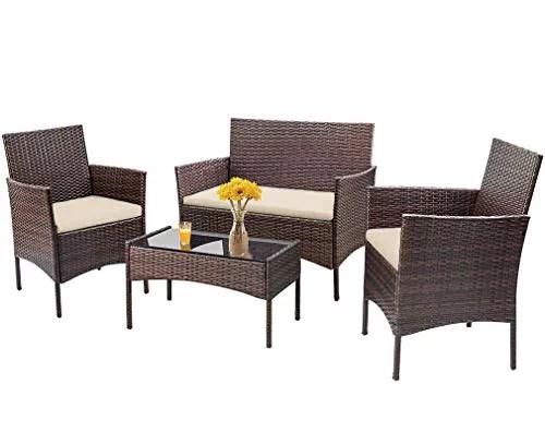 4 pieces outdoor patio furniture sets rattan chair wicker conversation sofa set patio chair garden furniture set for backyard lawn porch poolside