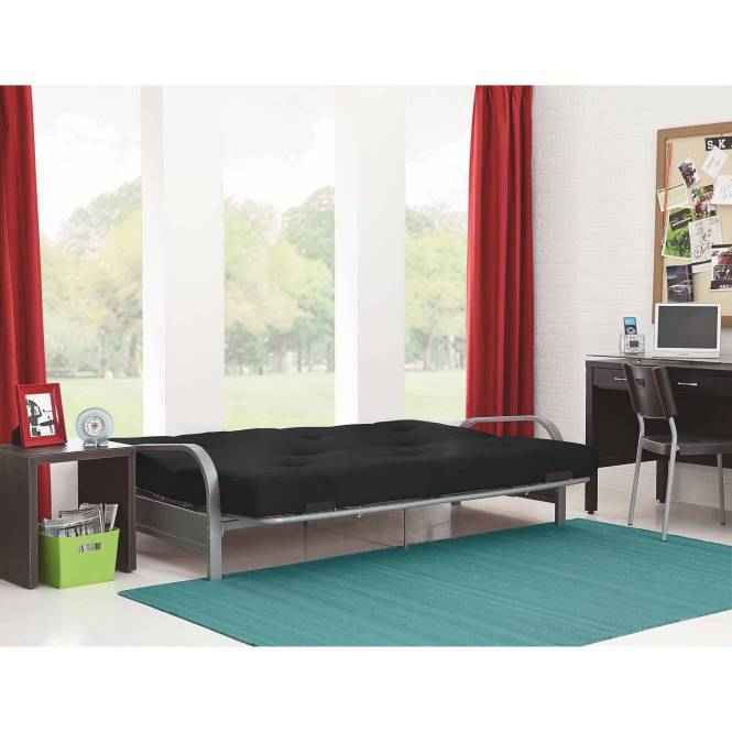 Mainstays Silver Metal Arm Futon Frame With Full Size Mattress Multiple Colors