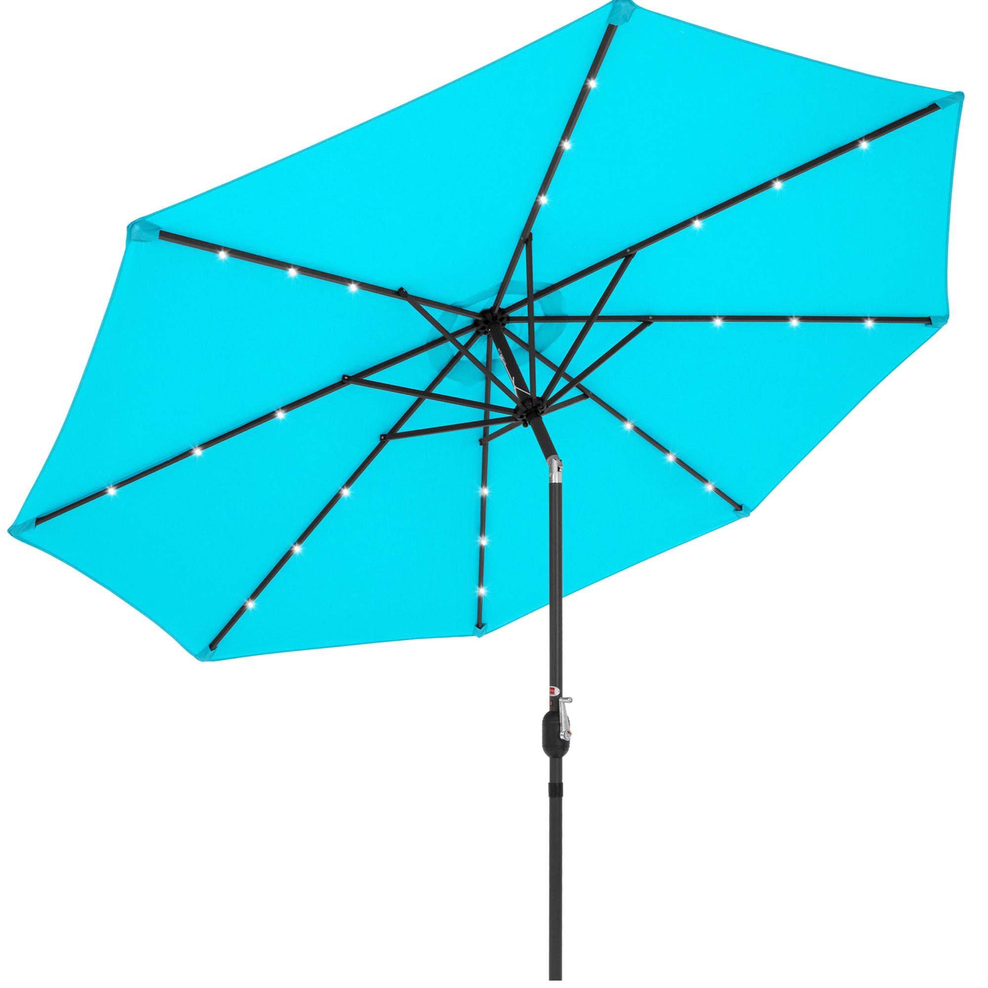 best choice products 10ft solar led lighted patio umbrella w tilt adjustment fade resistant fabric light blue