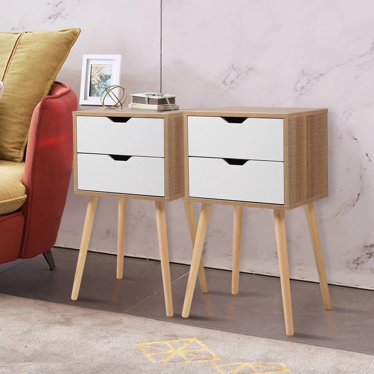 jaxpety set of 2 mid century modern nightstand bedside table sofa end table bedroom decor 2 drawers storage with solid wood legs white