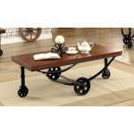 Furniture Of America Rese Industrial Oak Metal Caster Coffee Table Walmart Com Walmart Com