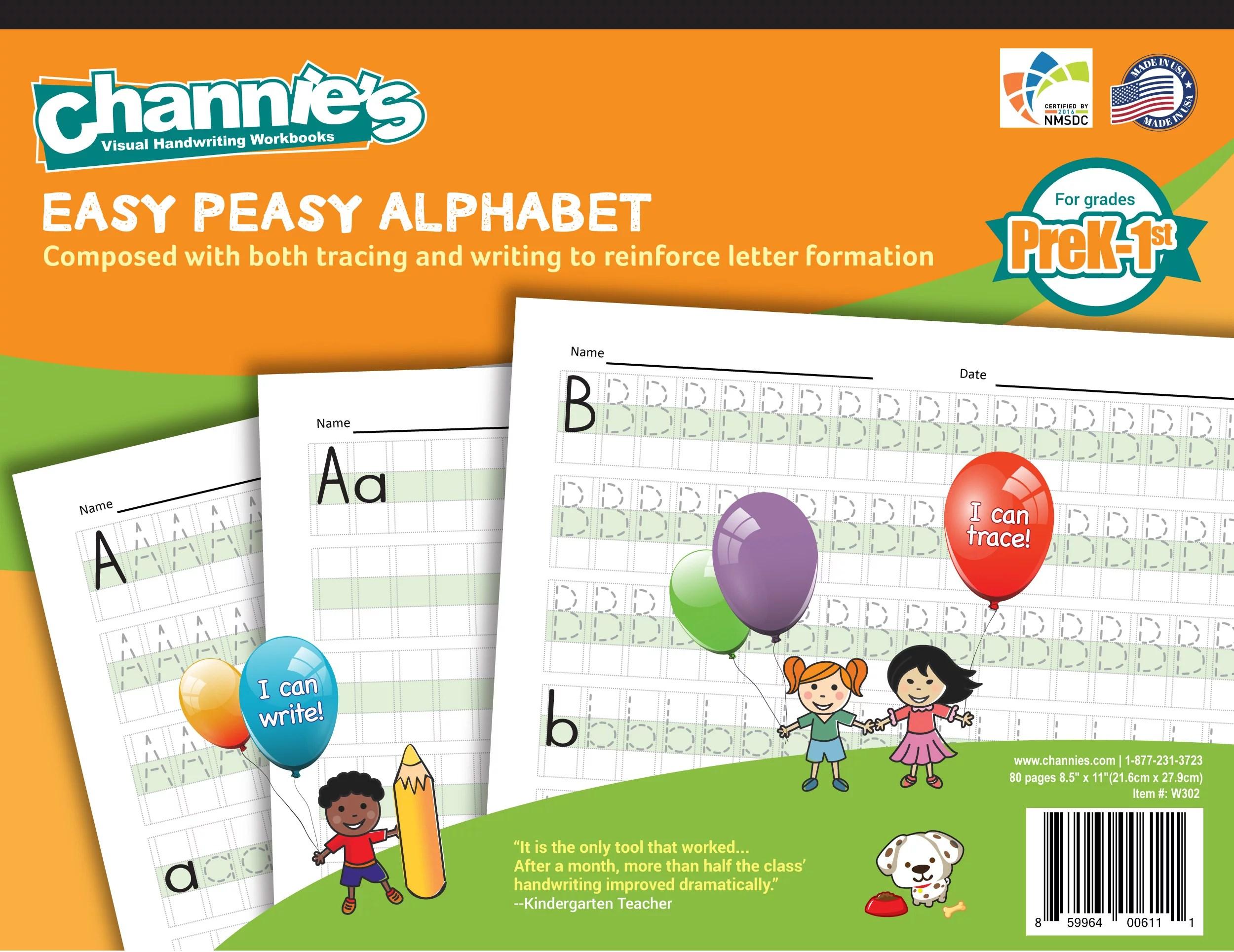 Channie S Easy Peasy Handwriting Alphabet Workbook For