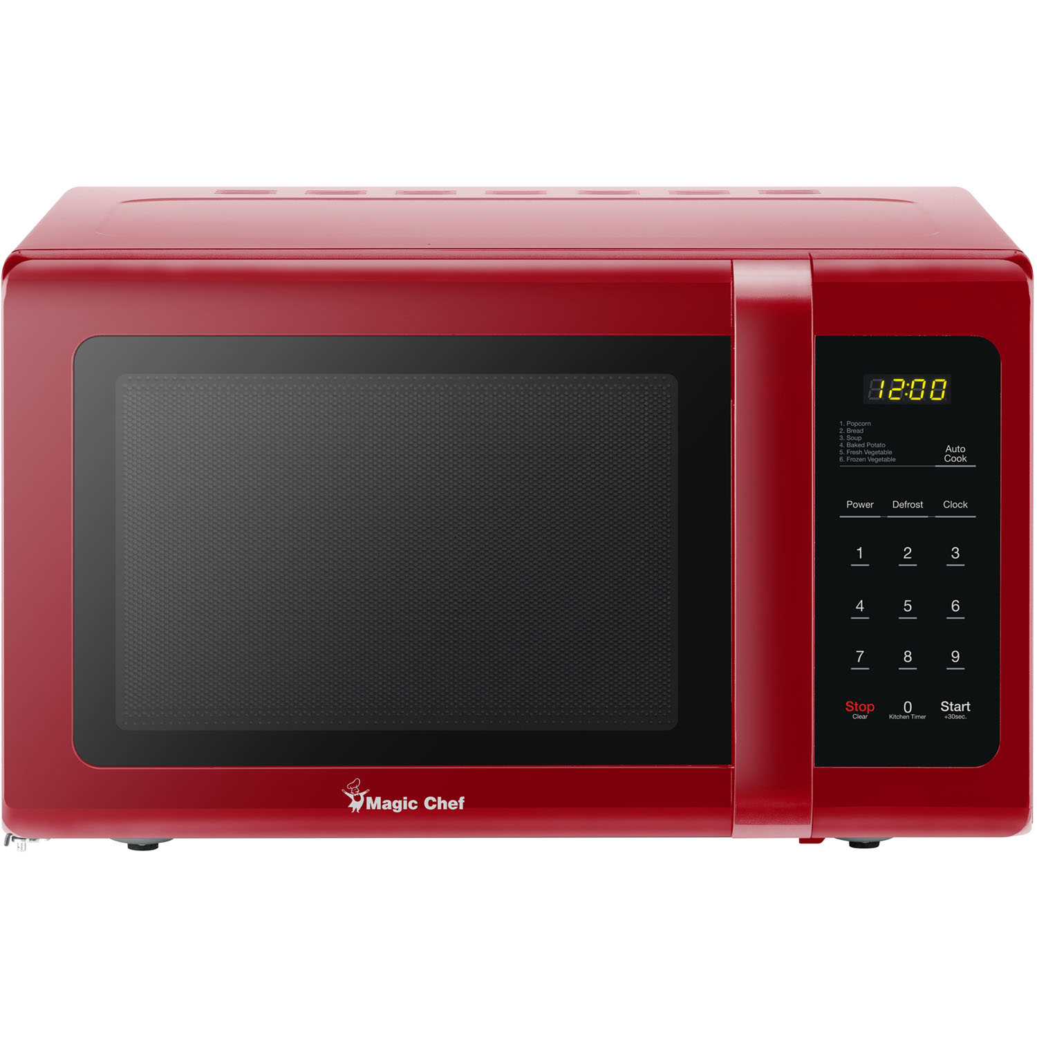 magic chef 0 9 cu ft 900w countertop microwave oven in red