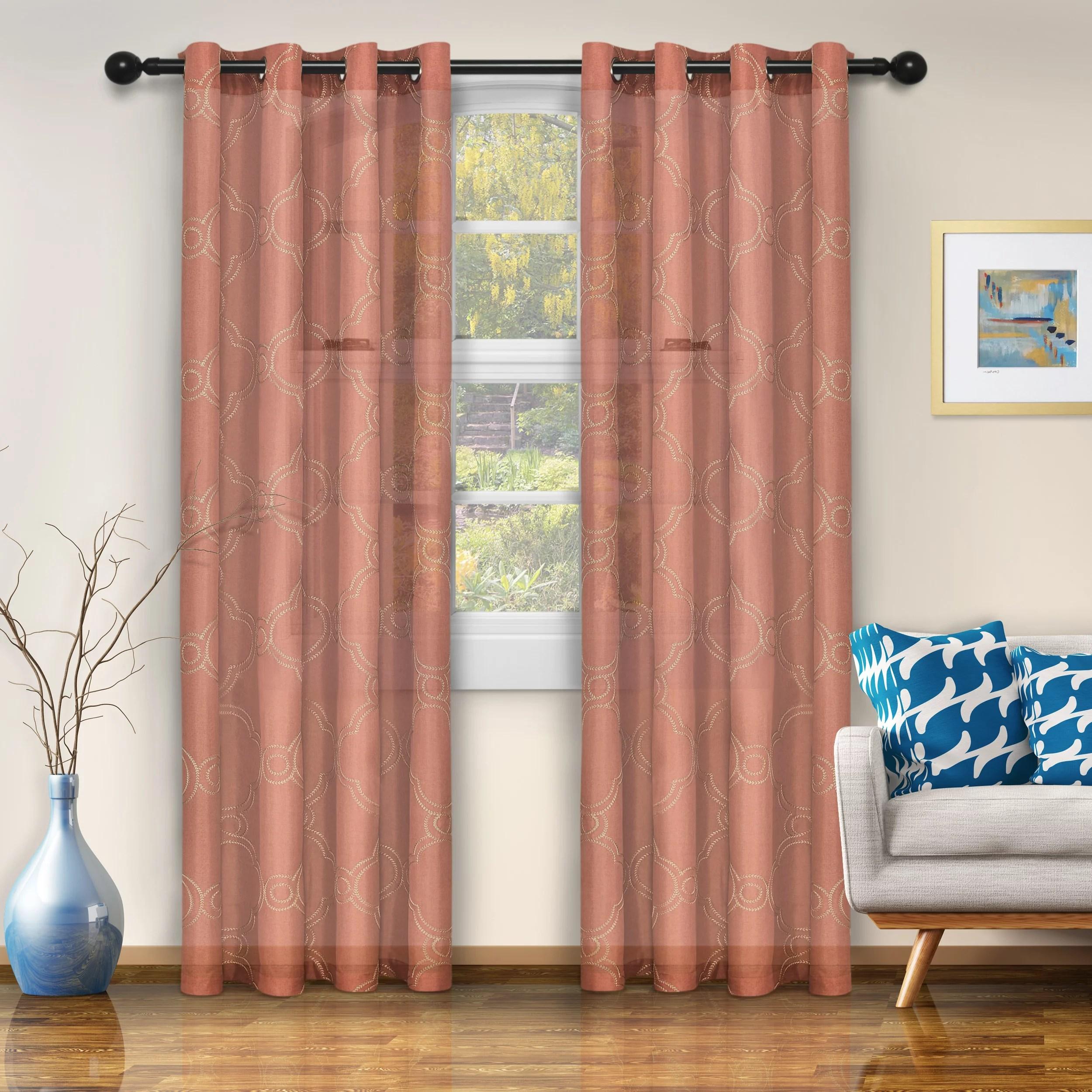 superior semi sheer moroccan printed curtain panels set of 2 rust walmart com