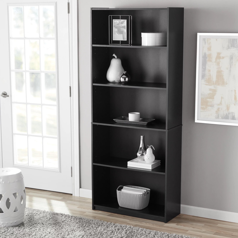 Mainstays 71 5 Shelf Standard Bookcase Black Oak Walmart