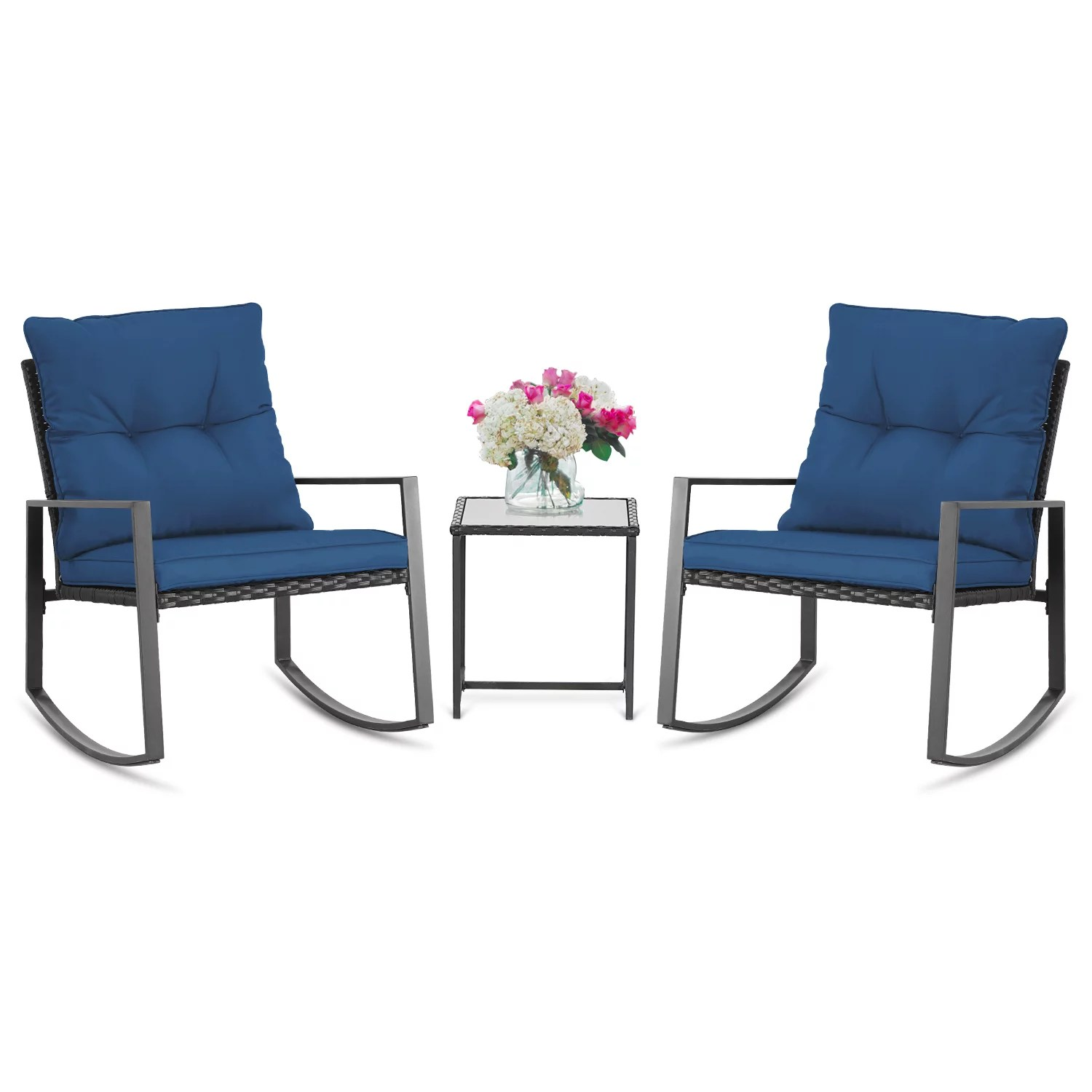 suncrown outdoor patio rocking chair sets 3 piece bistro set black wicker furniture two chairs with glass coffee table dark blue cushion