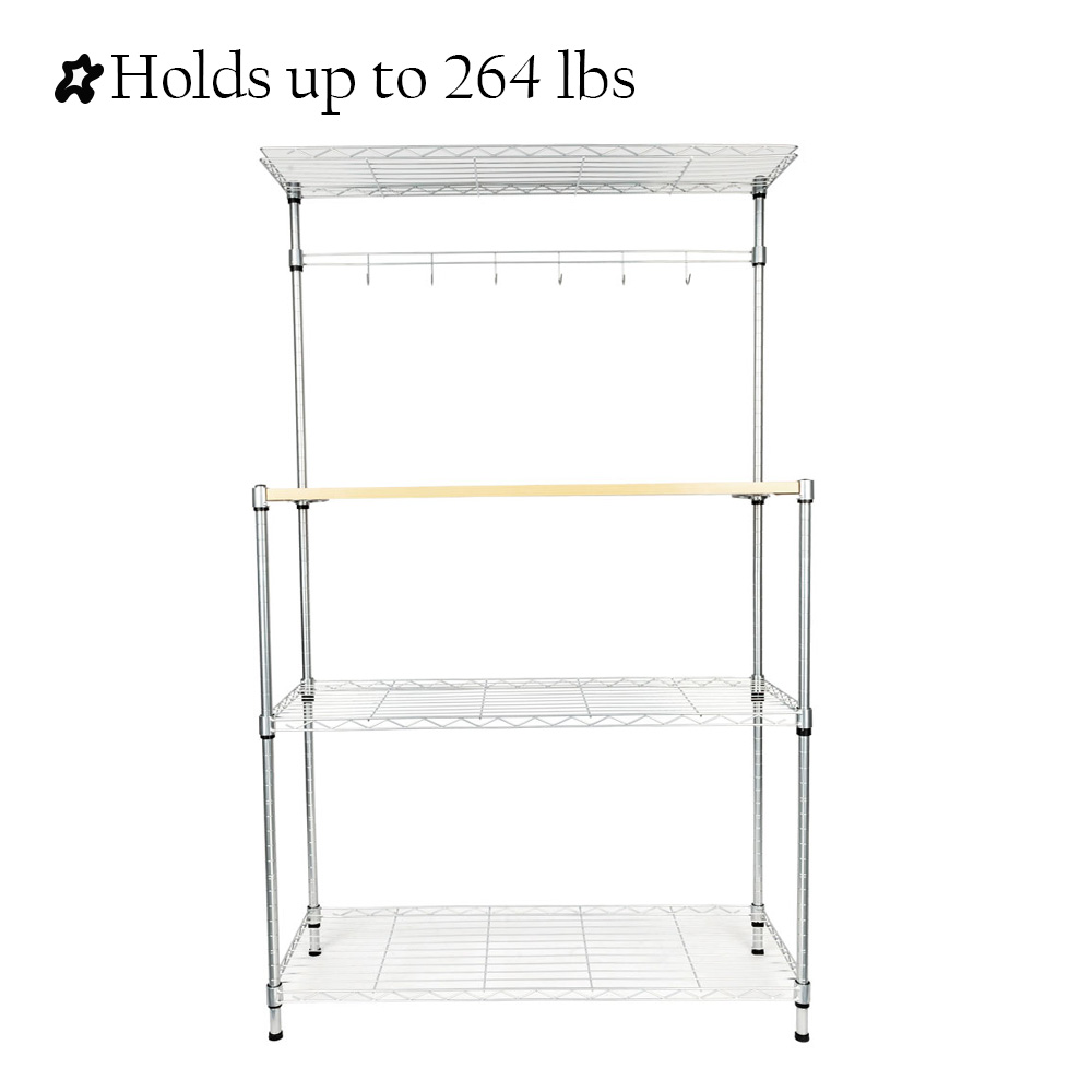 4 tier kitchen bakers rack segmart bakers racks for microwave with 3 tier shelves 1 wooden shelf hanging bar with 6 hooks metal microwave stand