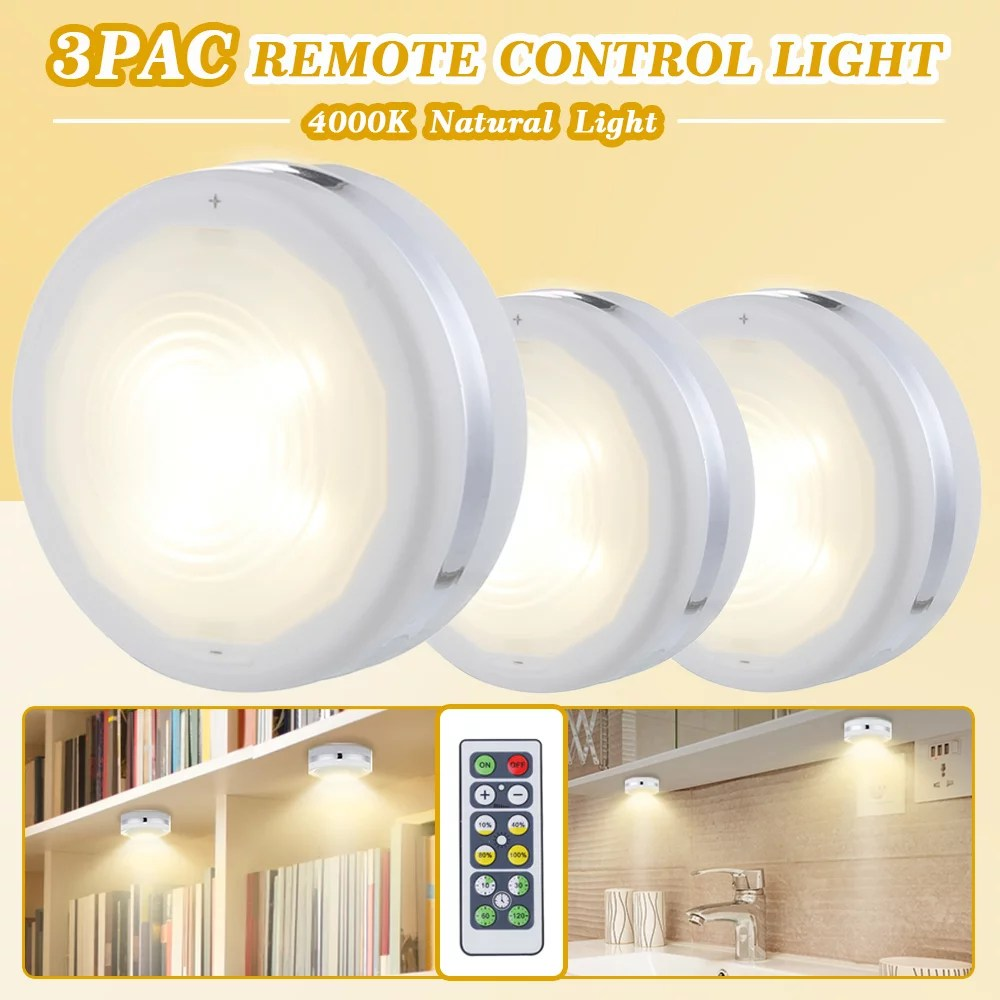 wireless led puck lights kitchen under cabinet lighting with remote control battery powered dimmable closet lights 3 pack for kitchen closet