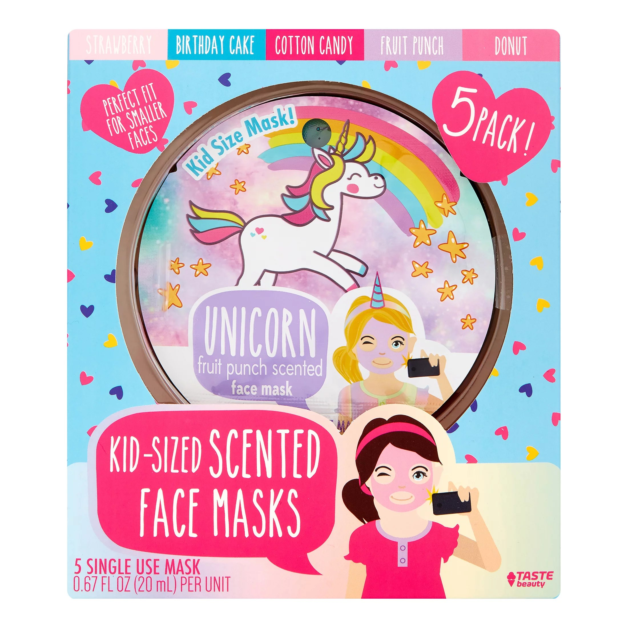 Taste Beauty Scented Face Masks For Kids 5 Pieces