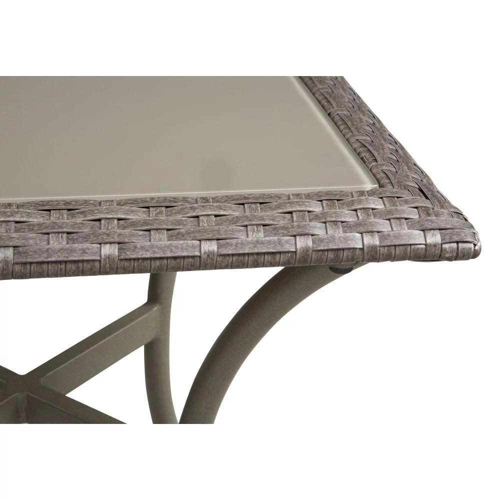 hampton bay posada side table 18 in glass top outdoor patio 153 120 18st