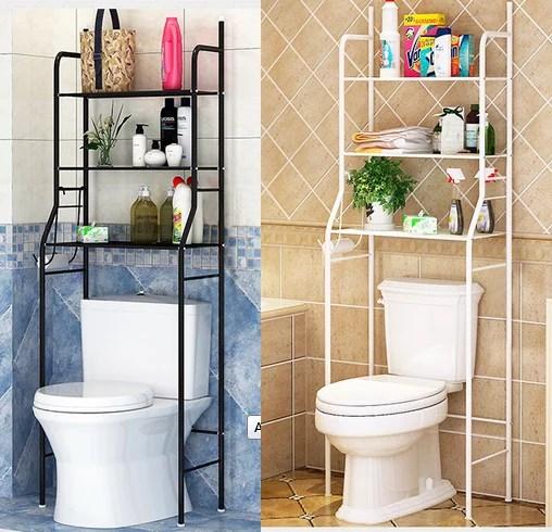3 tier iron toilet towel storage rack holder over bathroom shelf organizer black