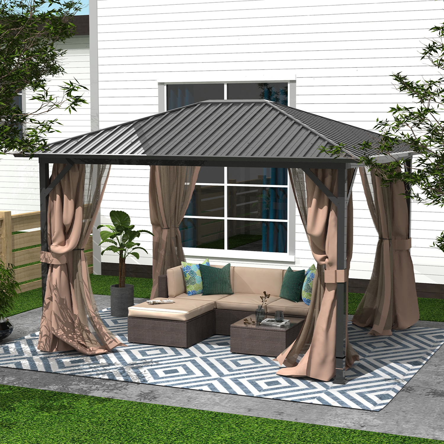 finefind 10 x 12 hardtop gazebo outdoor metal canopy gazebo with netting and curtains for patios all season