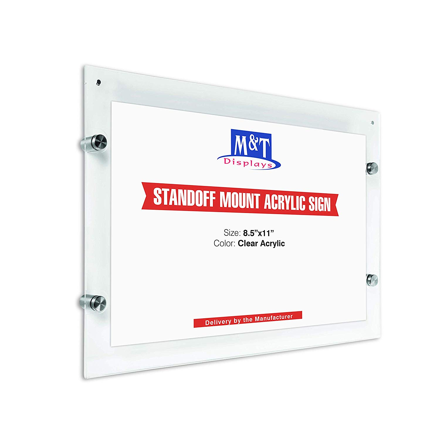 m t displays wall mount clear acrylic sign holder 11x17 landscape poster size magnet and standoff hardware included
