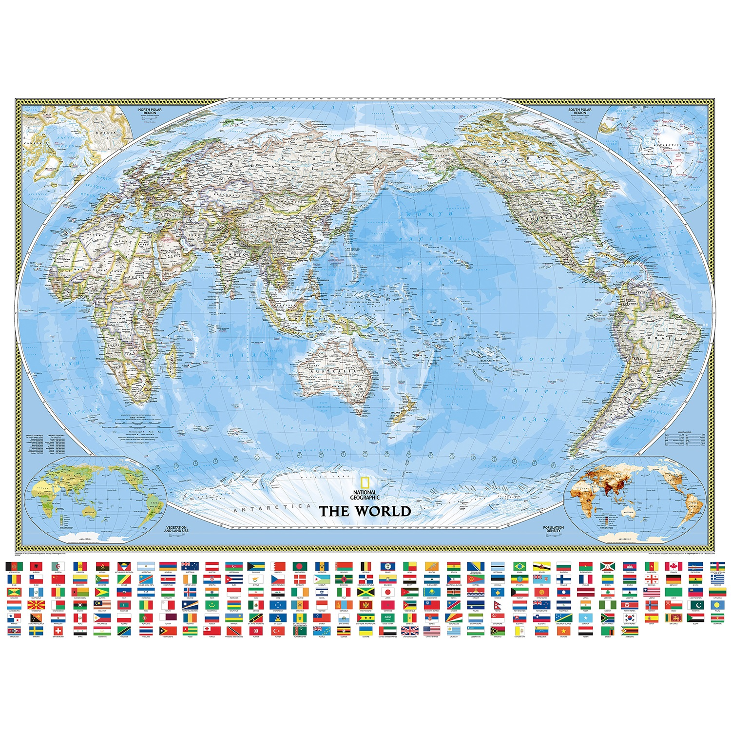 World Political Pacific Centered Wall Map Poster 35 X 23