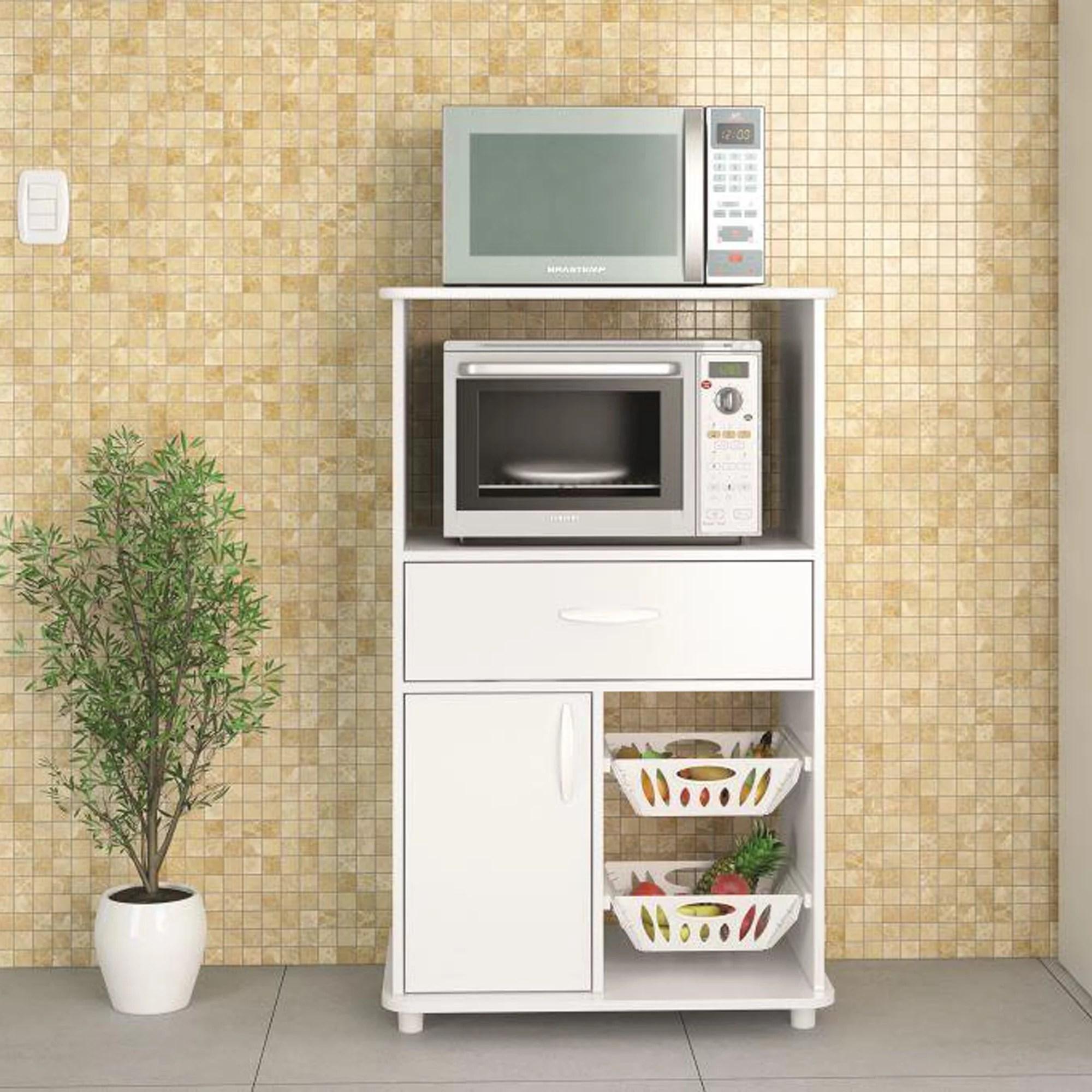 boahaus white kitchen storage cabinet fruit bowl 1 drawer microwave stand white finish walmart com