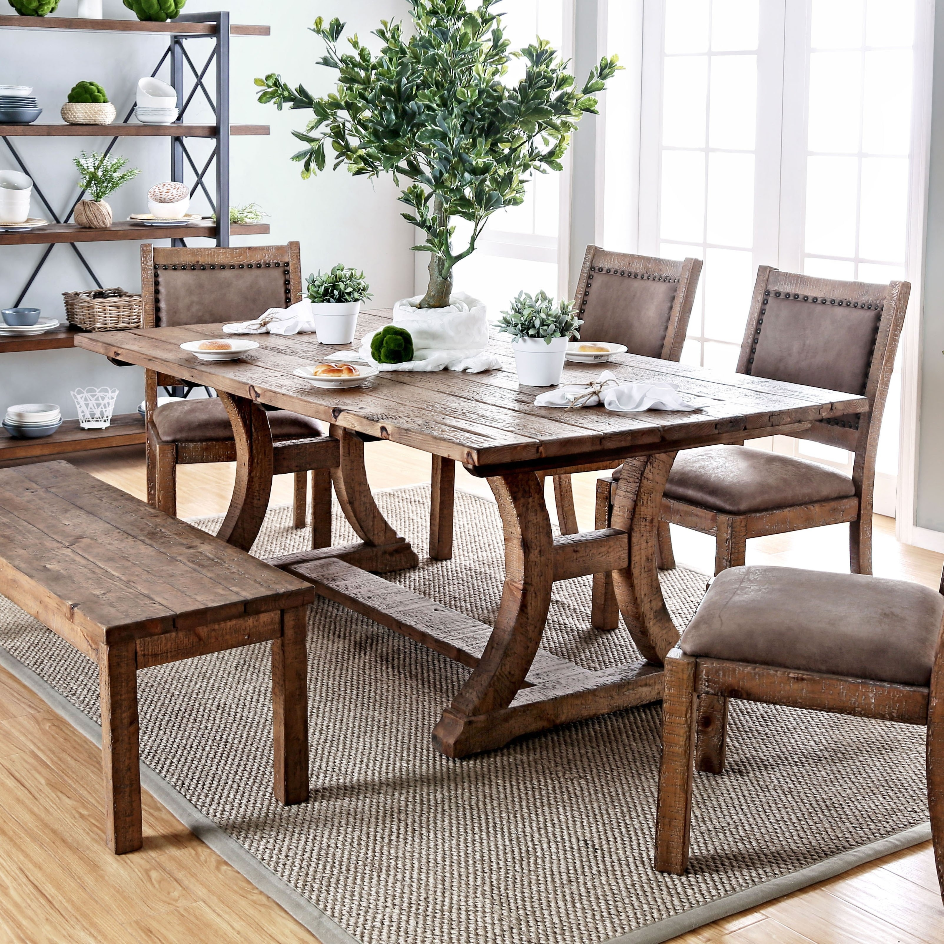 furniture of america sail rustic pine solid wood dining on solid wood dining table id=50837