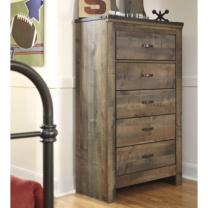 ashley furniture trinell 5 drawer wood chest in brown walmart com