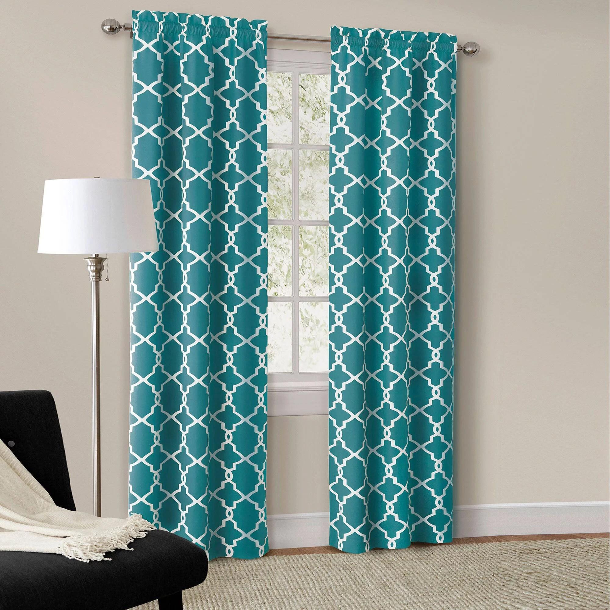 mainstays calix fashion light filtering rod pocket window curtain panel set of 2 teal 56 x 63 walmart com
